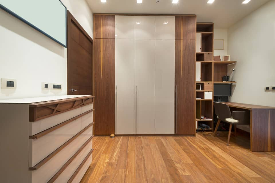Study room interior with wooden flooring