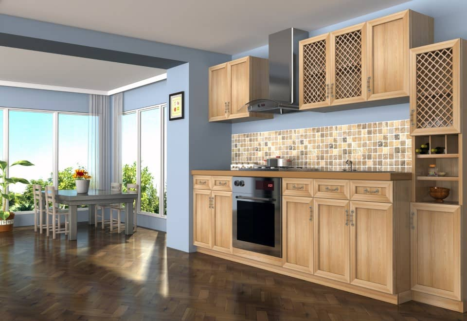large kitchen interior with herringbone hard flooring 3d render