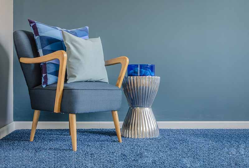 new blue carpet in lounge
